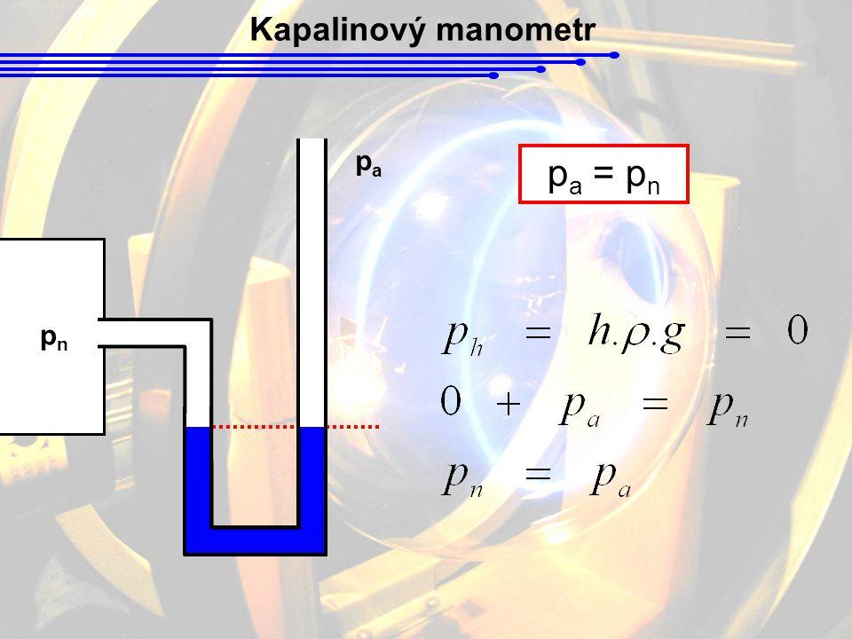 Kapalinový manometr pnpn papa p a = p n