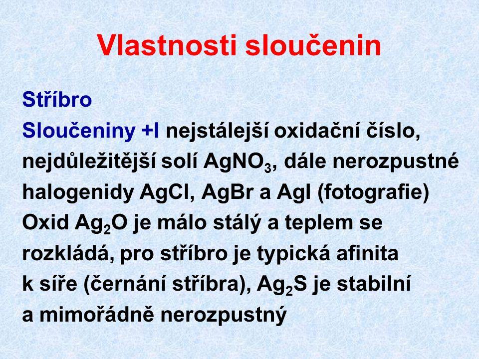 Vlastnosti sloučenin Stříbro Sloučeniny +I nejstálejší oxidační číslo, nejdůležitější solí AgNO 3, dále nerozpustné halogenidy AgCl, AgBr a AgI (fotog