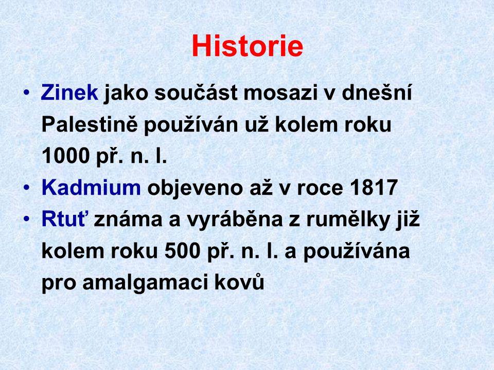 Historie Zinek jako součást mosazi v dnešní Palestině používán už kolem roku 1000 př. n. l. Kadmium objeveno až v roce 1817 Rtuť známa a vyráběna z ru
