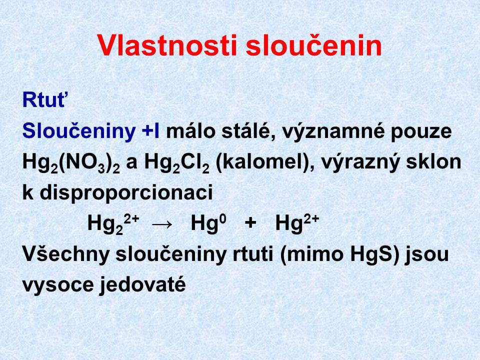 Vlastnosti sloučenin Rtuť Sloučeniny +I málo stálé, významné pouze Hg 2 (NO 3 ) 2 a Hg 2 Cl 2 (kalomel), výrazný sklon k disproporcionaci Hg 2 2+ → Hg