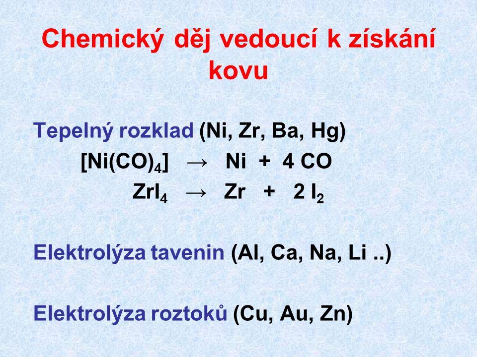Tepelný rozklad (Ni, Zr, Ba, Hg) [Ni(CO) 4 ] → Ni + 4 CO ZrI 4 → Zr + 2 I 2 Elektrolýza tavenin (Al, Ca, Na, Li..) Elektrolýza roztoků (Cu, Au, Zn) Ch