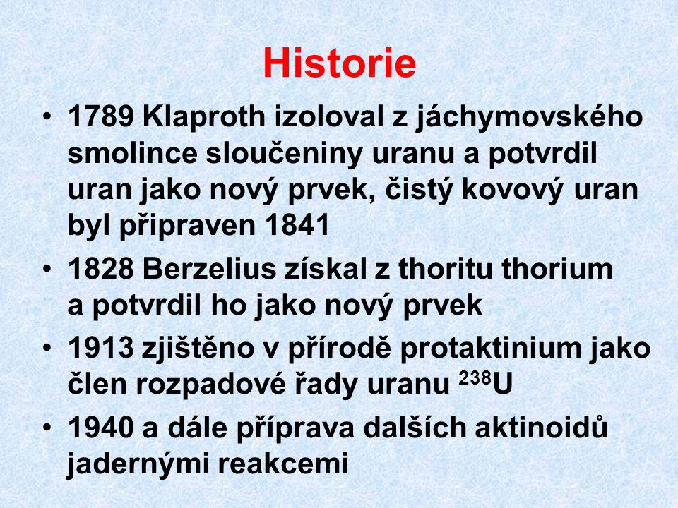 Historie 1789 Klaproth izoloval z jáchymovského smolince sloučeniny uranu a potvrdil uran jako nový prvek, čistý kovový uran byl připraven 1841 1828 B