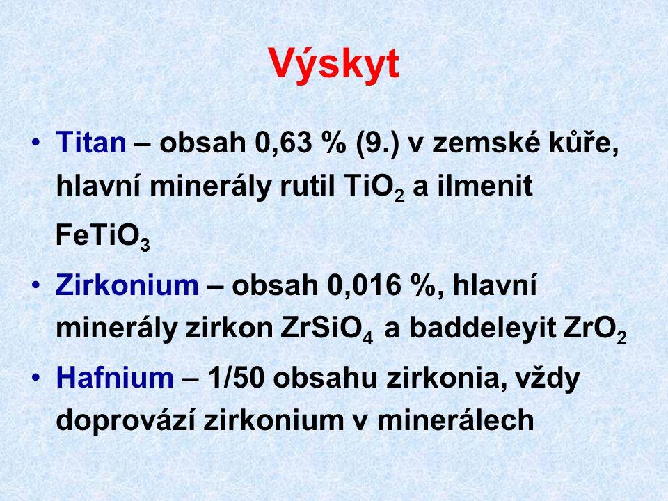 Výskyt Titan – obsah 0,63 % (9.) v zemské kůře, hlavní minerály rutil TiO 2 a ilmenit FeTiO 3 Zirkonium – obsah 0,016 %, hlavní minerály zirkon ZrSiO