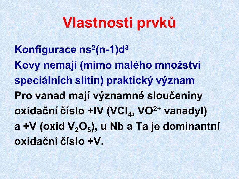 Vlastnosti prvků Konfigurace ns 2 (n-1)d 3 Kovy nemají (mimo malého množství speciálních slitin) praktický význam Pro vanad mají významné sloučeniny o