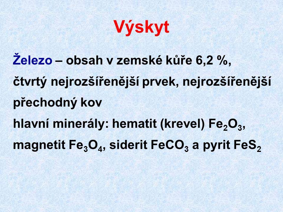 Výskyt Železo – obsah v zemské kůře 6,2 %, čtvrtý nejrozšířenější prvek, nejrozšířenější přechodný kov hlavní minerály: hematit (krevel) Fe 2 O 3, mag