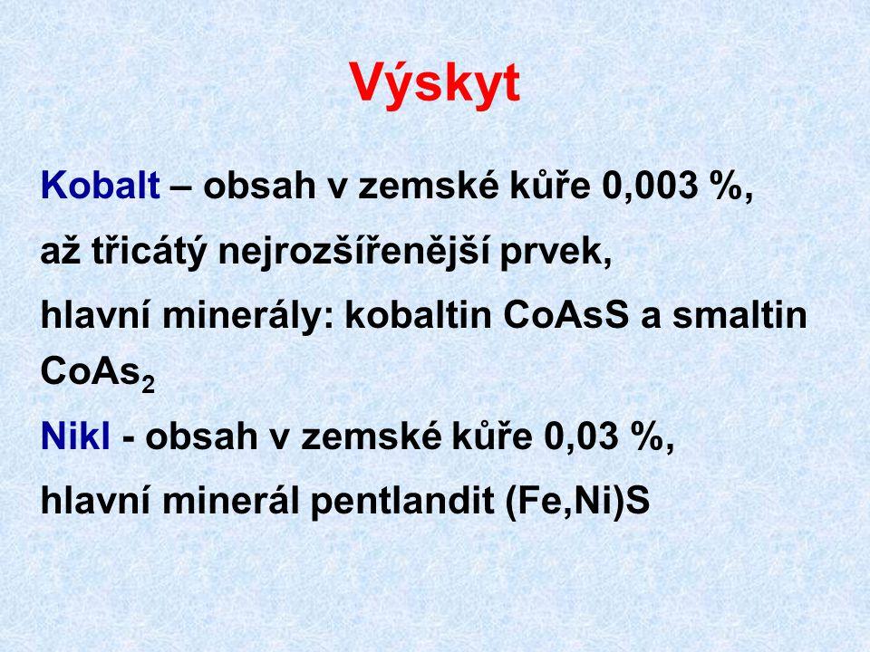Výskyt Kobalt – obsah v zemské kůře 0,003 %, až třicátý nejrozšířenější prvek, hlavní minerály: kobaltin CoAsS a smaltin CoAs 2 Nikl - obsah v zemské