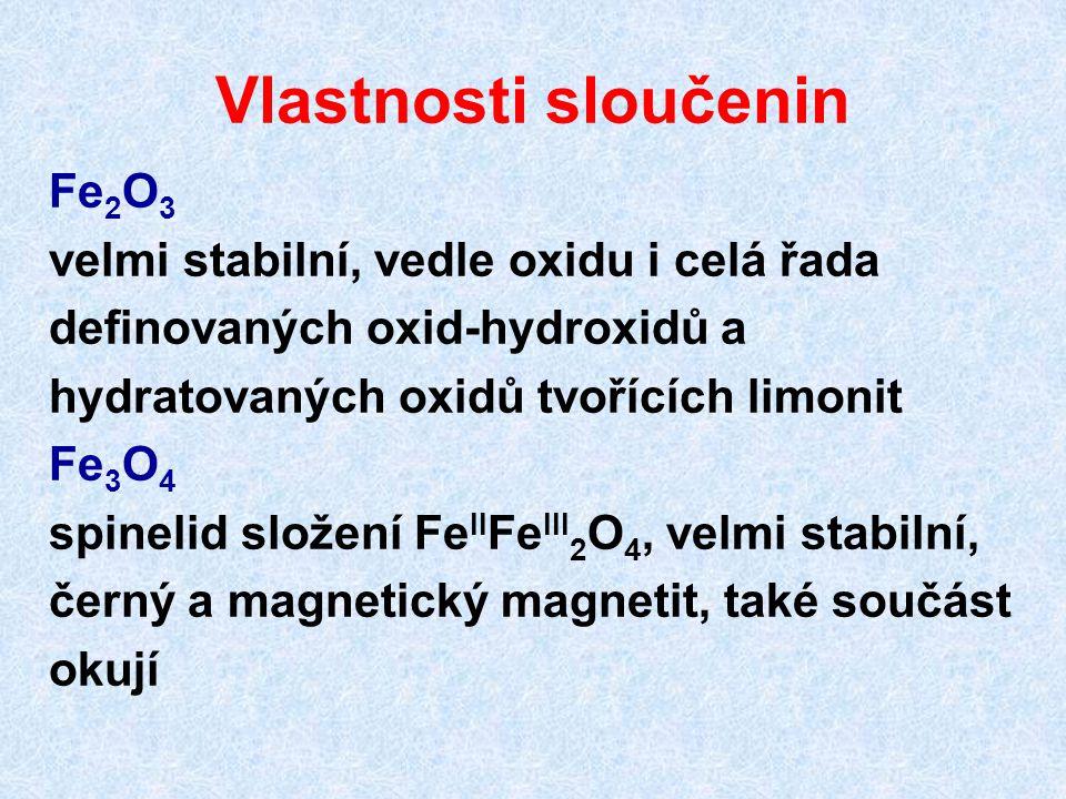Vlastnosti sloučenin Fe 2 O 3 velmi stabilní, vedle oxidu i celá řada definovaných oxid-hydroxidů a hydratovaných oxidů tvořících limonit Fe 3 O 4 spi