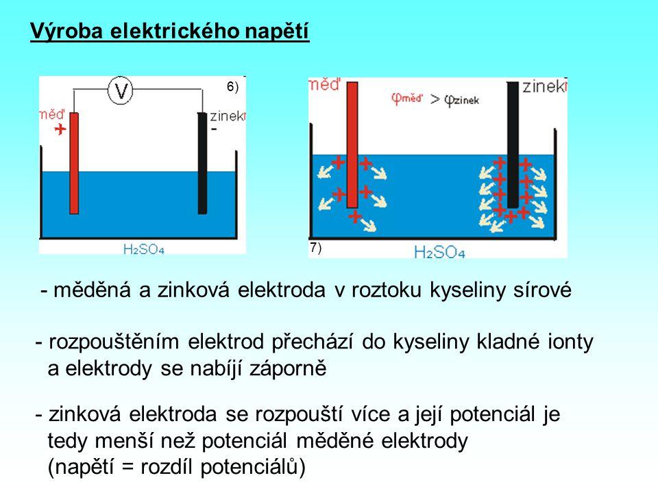 Výroba elektrického napětí 6) 7) - měděná a zinková elektroda v roztoku kyseliny sírové - rozpouštěním elektrod přechází do kyseliny kladné ionty a elektrody se nabíjí záporně - zinková elektroda se rozpouští více a její potenciál je tedy menší než potenciál měděné elektrody (napětí = rozdíl potenciálů)