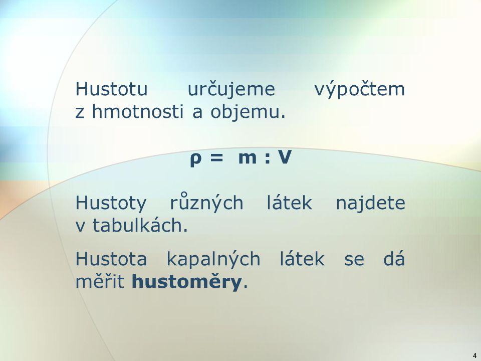 4 Hustotu určujeme výpočtem z hmotnosti a objemu. ρ = m : V Hustoty různých látek najdete v tabulkách. Hustota kapalných látek se dá měřit hustoměry.