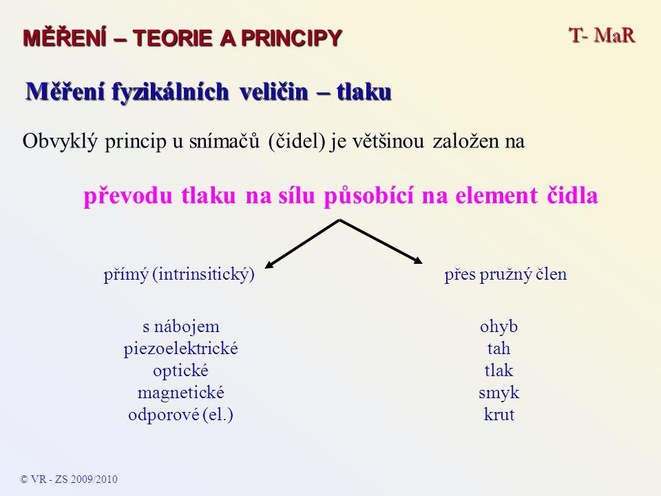 T- MaR MĚŘENÍ – TEORIE A PRINCIPY © VR - ZS 2009/2010 Měření fyzikálních veličin – tlaku převodu tlaku na sílu působící na element čidla přes pružný č