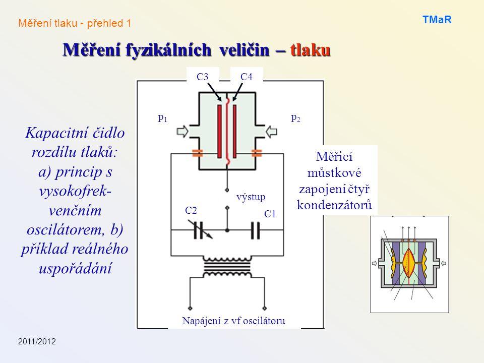 2011/2012 TMaR Měření fyzikálních veličin – tlaku Měření tlaku - přehled 1 Kapacitní čidlo rozdílu tlaků: a) princip s vysokofrek- venčním oscilátorem