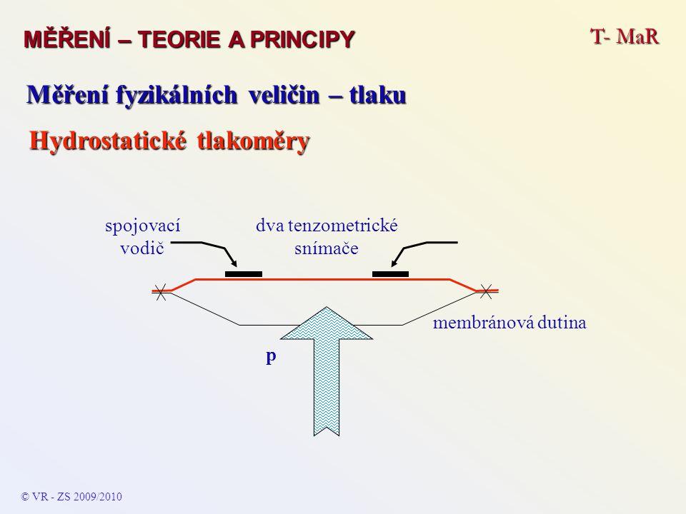T- MaR MĚŘENÍ – TEORIE A PRINCIPY © VR - ZS 2009/2010 Měření fyzikálních veličin – tlaku Hydrostatické tlakoměry dva tenzometrické snímače spojovací v