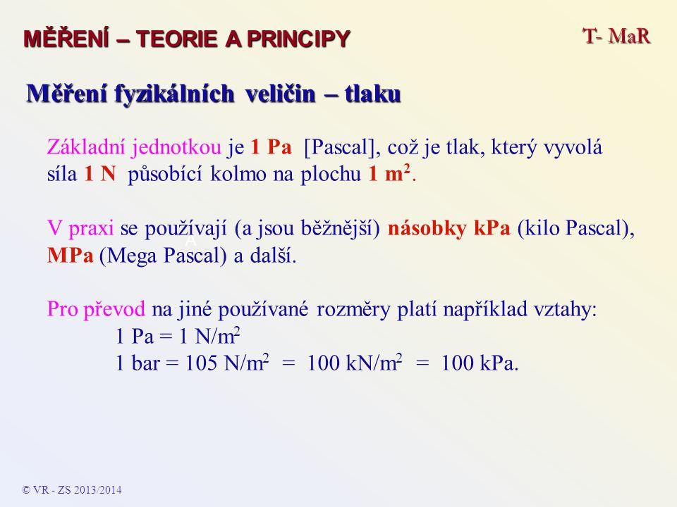 T- MaR MĚŘENÍ – TEORIE A PRINCIPY Měření fyzikálních veličin – tlaku Pro převod na jiné používané rozměry platí vztahy: 1 Pa = 1 N/m 2 = 0,1019 kg / m 2 = 9,869 * 10 -6 atm = 10 -5 bar = 7,502 * 10 -3 mm Hg (torr) = 1,45 * 10 -4 psi = 2,953 * 10 -4 inch Hg = 4,014 * 10 -3 inch H 2 O © VR - ZS 2013/2014