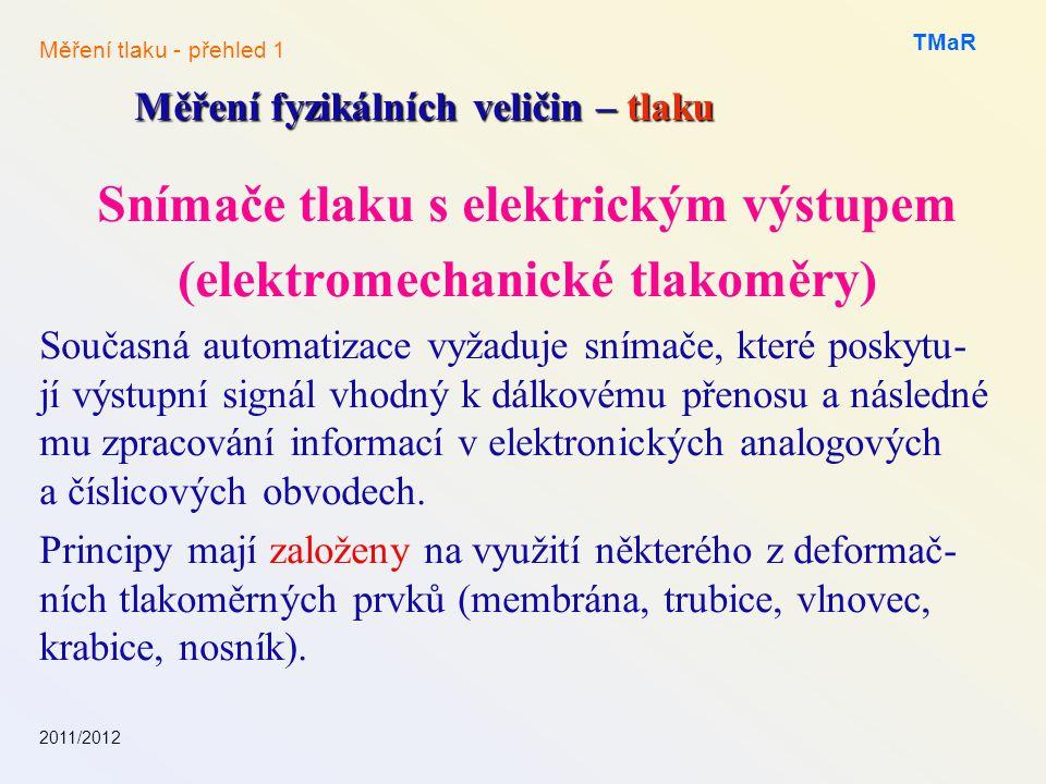 Snímače tlaku s elektrickým výstupem (elektromechanické tlakoměry) Současná automatizace vyžaduje snímače, které poskytu- jí výstupní signál vhodný k