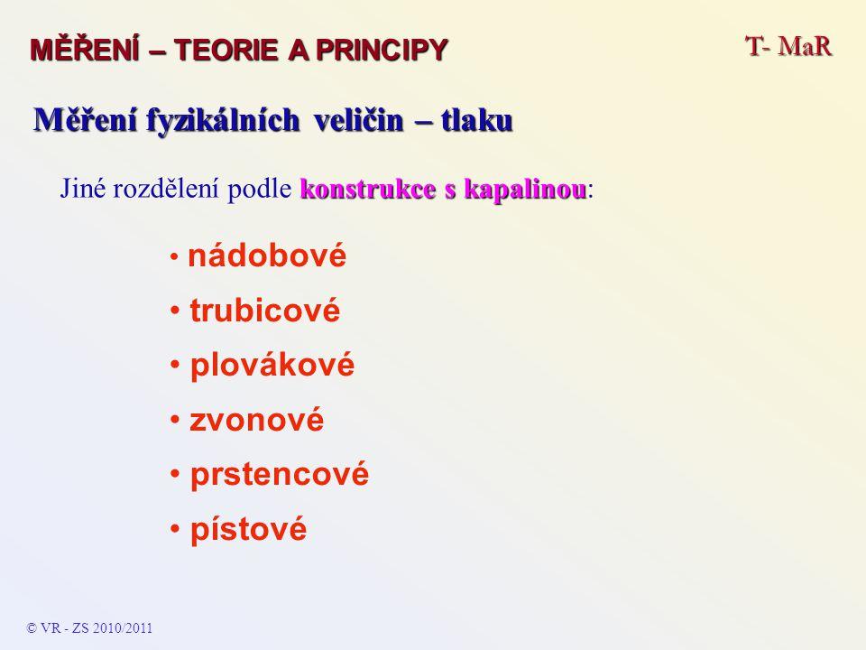 T- MaR MĚŘENÍ – TEORIE A PRINCIPY © VR - ZS 2010/2011 A Měření fyzikálních veličin – tlaku konstrukce s kapalinou Jiné rozdělení podle konstrukce s ka