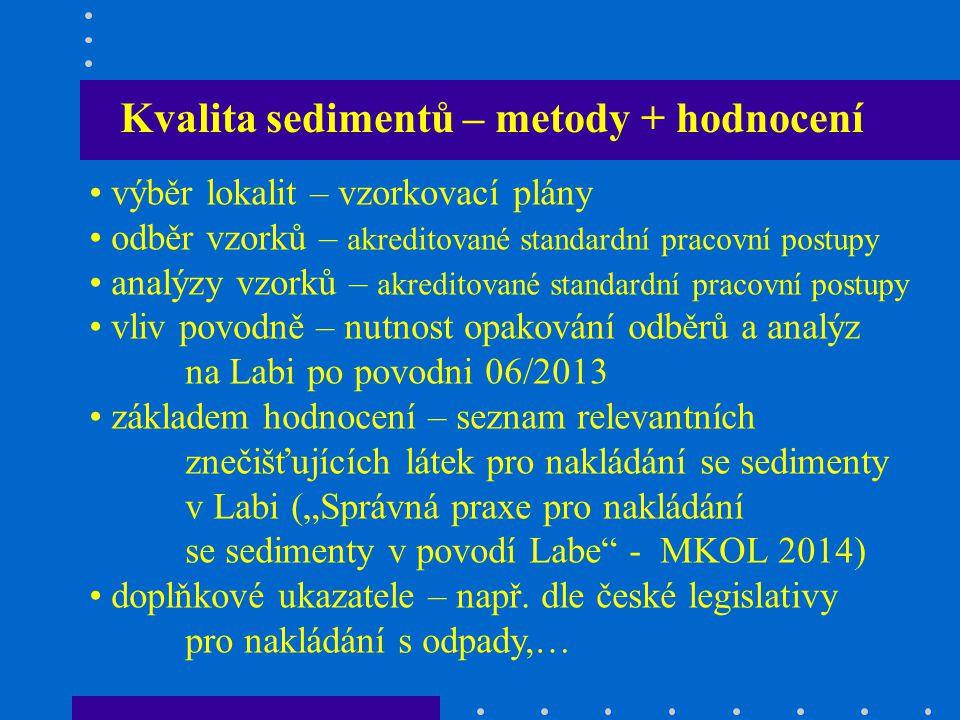 """Kvalita sedimentů – metody + hodnocení výběr lokalit – vzorkovací plány odběr vzorků – akreditované standardní pracovní postupy analýzy vzorků – akreditované standardní pracovní postupy vliv povodně – nutnost opakování odběrů a analýz na Labi po povodni 06/2013 základem hodnocení – seznam relevantních znečišťujících látek pro nakládání se sedimenty v Labi (""""Správná praxe pro nakládání se sedimenty v povodí Labe - MKOL 2014) doplňkové ukazatele – např."""