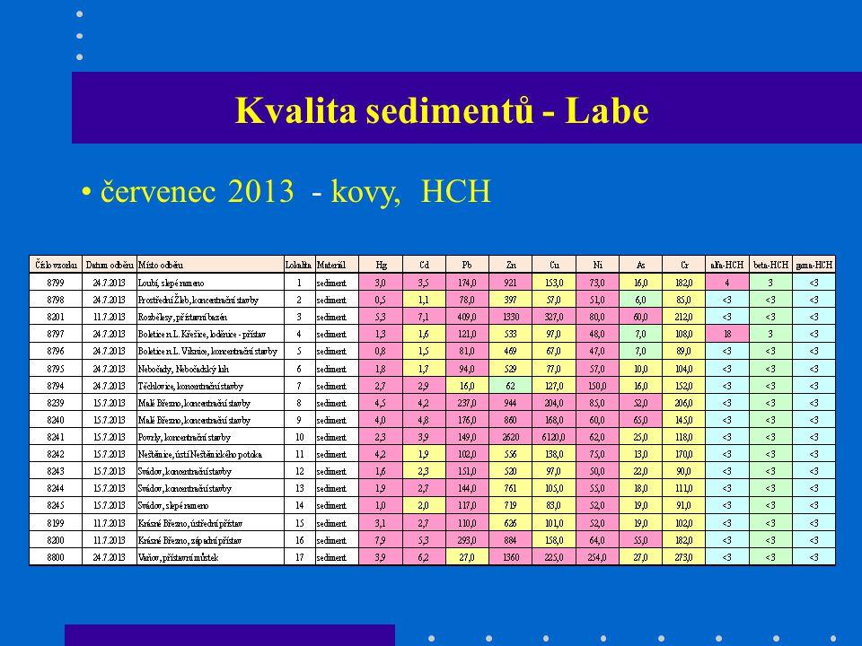 Kvalita sedimentů - Labe červenec 2013 - kovy, HCH