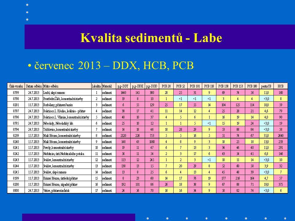 Kvalita sedimentů - Labe červenec 2013 – DDX, HCB, PCB