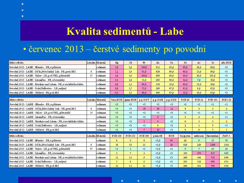 Kvalita sedimentů - Labe červenec 2013 – čerstvé sedimenty po povodni