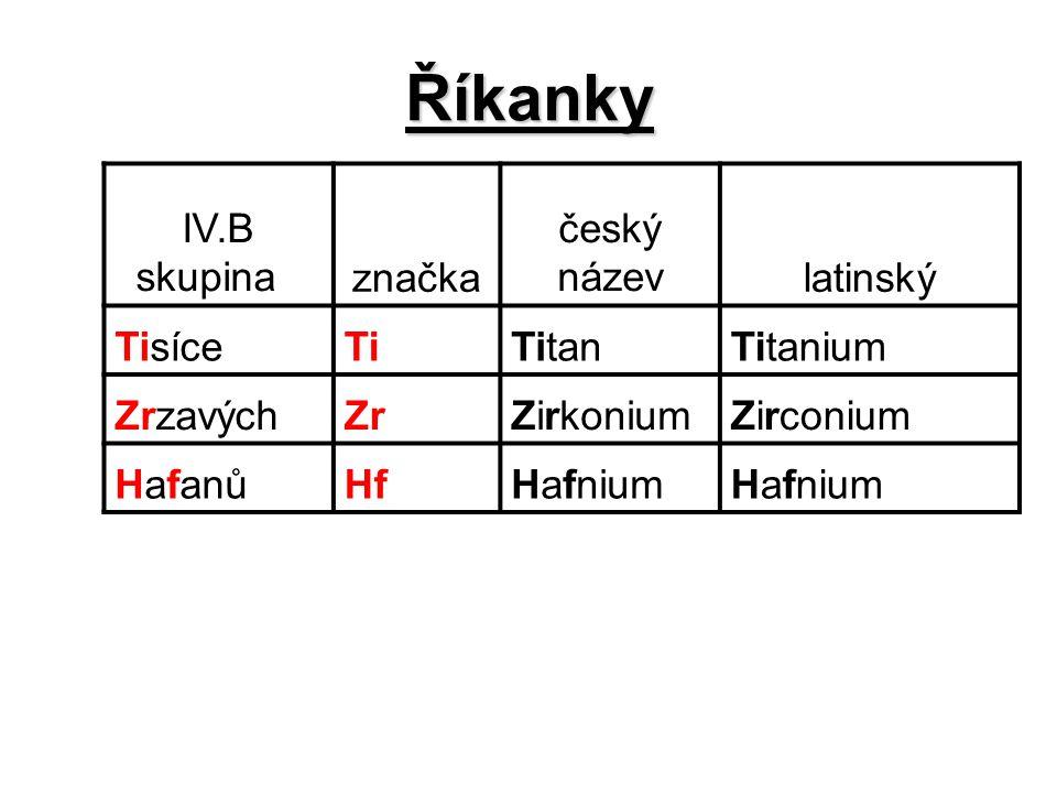 Říkanky IV.B skupina značka český názevlatinský TisíceTiTitanTitanium ZrzavýchZrZirkoniumZirconium HafanůHfHafnium