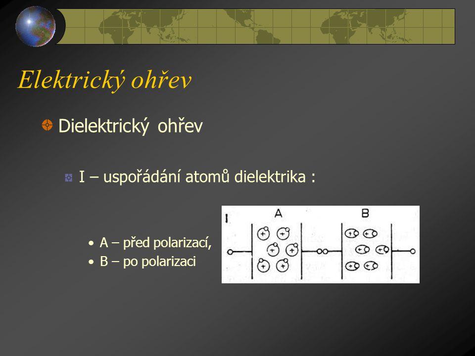 Elektrický ohřev Dielektrické teplo vzniká v dielektriku (izolantu), na které působí elektrické pole. I když dielektrikem nevede elektrický proud, vzn