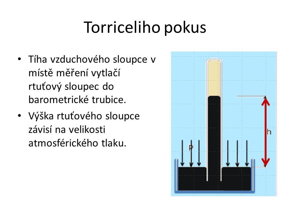 Torriceliho pokus Tíha vzduchového sloupce v místě měření vytlačí rtuťový sloupec do barometrické trubice. Výška rtuťového sloupce závisí na velikosti