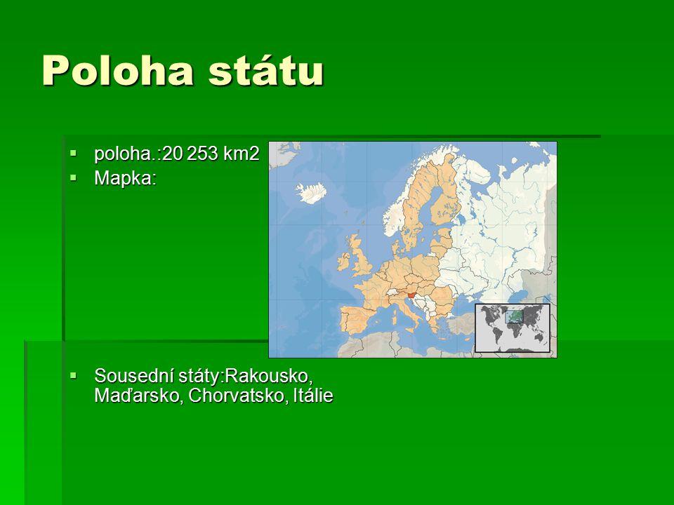 Poloha státu  poloha.:20 253 km2  Mapka:  Sousední státy:Rakousko, Maďarsko, Chorvatsko, Itálie