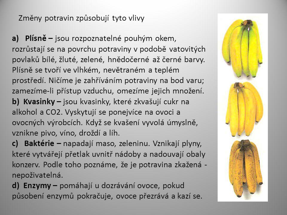 Změny potravin způsobují tyto vlivy a) Plísně – jsou rozpoznatelné pouhým okem, rozrůstají se na povrchu potraviny v podobě vatovitých povlaků bílé, ž