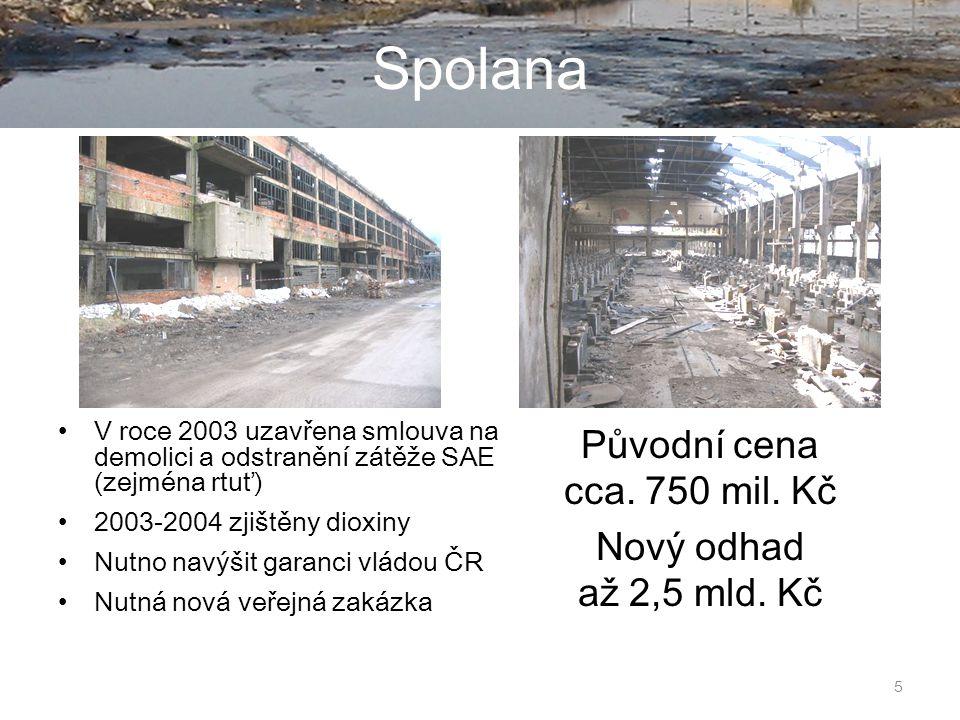 5 Spolana V roce 2003 uzavřena smlouva na demolici a odstranění zátěže SAE (zejména rtuť) 2003-2004 zjištěny dioxiny Nutno navýšit garanci vládou ČR Nutná nová veřejná zakázka Původní cena cca.