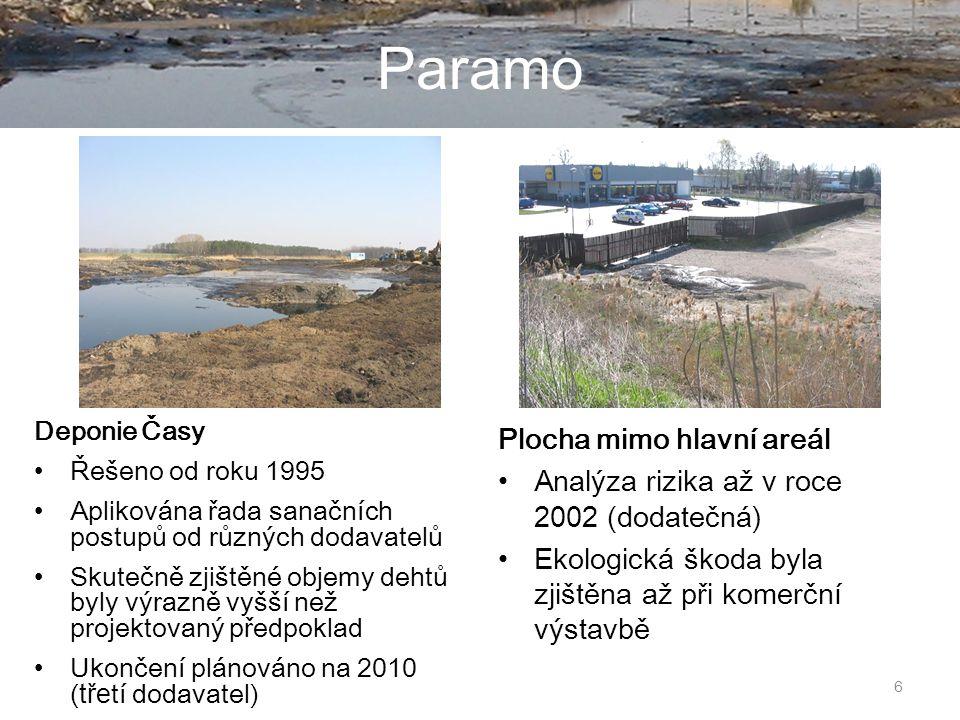6 Paramo Deponie Časy Řešeno od roku 1995 Aplikována řada sanačních postupů od různých dodavatelů Skutečně zjištěné objemy dehtů byly výrazně vyšší než projektovaný předpoklad Ukončení plánováno na 2010 ( tře tí dodavatel) Plocha mimo hlavní areál Analýza rizika až v roce 2002 (dodatečná) Ekologická škoda byla zjištěna až při komerční výstavbě