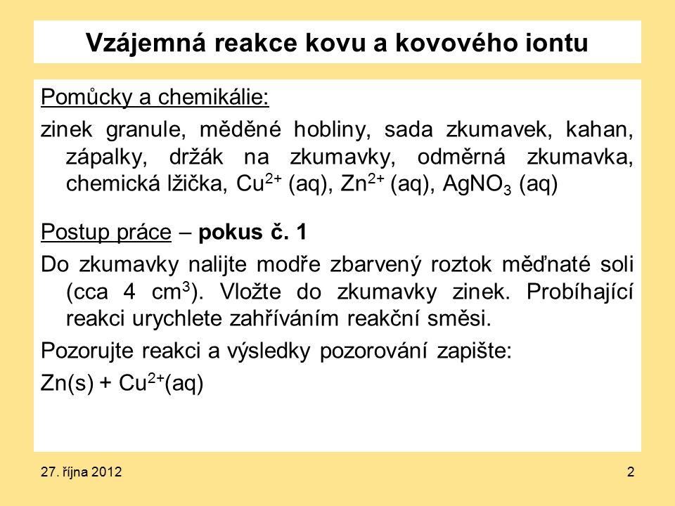 27. října 20122 Vzájemná reakce kovu a kovového iontu Pomůcky a chemikálie: zinek granule, měděné hobliny, sada zkumavek, kahan, zápalky, držák na zku