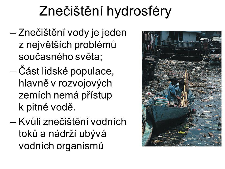 Znečištění hydrosféry – Znečištění vody je jeden z největších problémů současného světa; – Část lidské populace, hlavně v rozvojových zemích nemá přístup k pitné vodě.