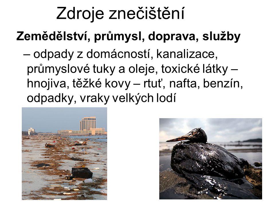Zdroje znečištění Zemědělství, průmysl, doprava, služby – odpady z domácností, kanalizace, průmyslové tuky a oleje, toxické látky – hnojiva, těžké kov