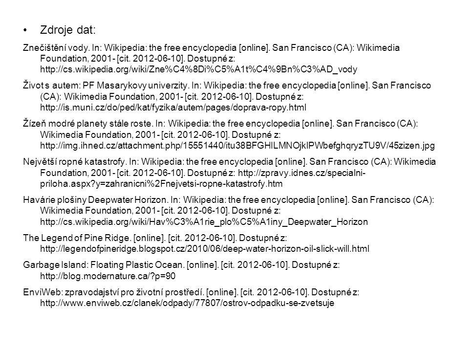 Zdroje dat: Znečištění vody. In: Wikipedia: the free encyclopedia [online]. San Francisco (CA): Wikimedia Foundation, 2001- [cit. 2012-06-10]. Dostupn