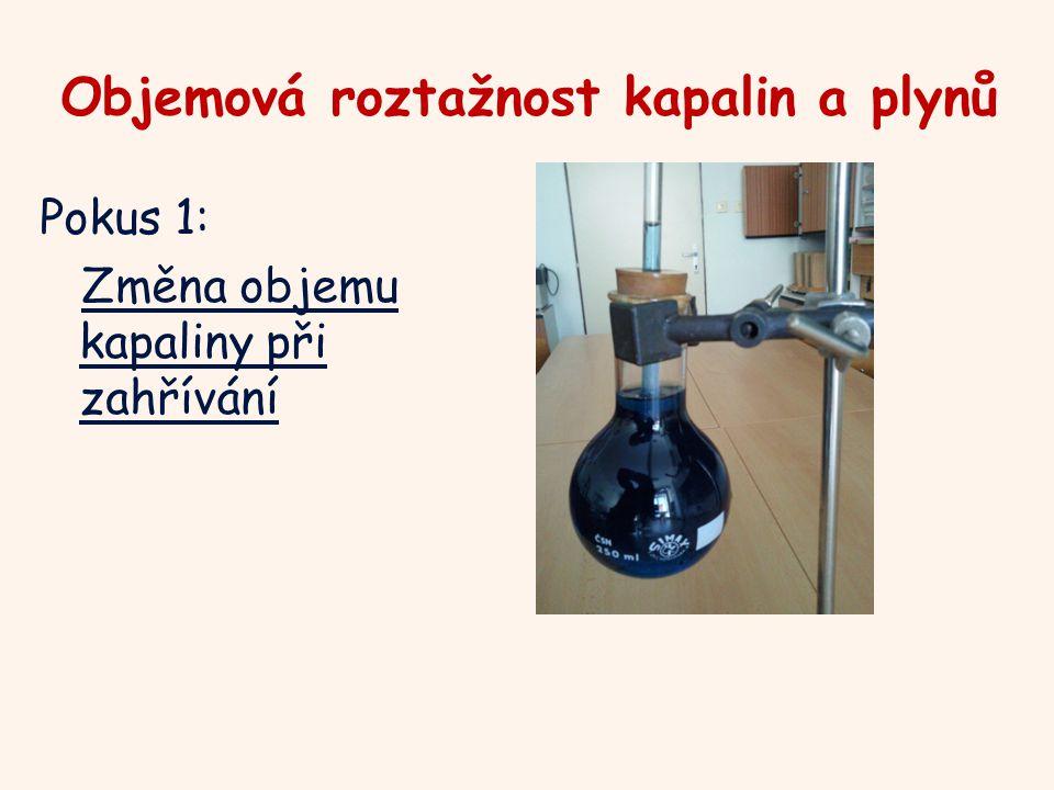 Objemová roztažnost kapalin a plynů Pokus 1: Změna objemu kapaliny při zahřívání