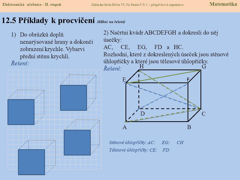 12.4 Zobrazení krychle a kvádru Postup promítnutí kvádru a krychle ve volném rovnoběžném promítání (nadhled zprava): Kvádr: 1) Narýsujeme obdélník, př