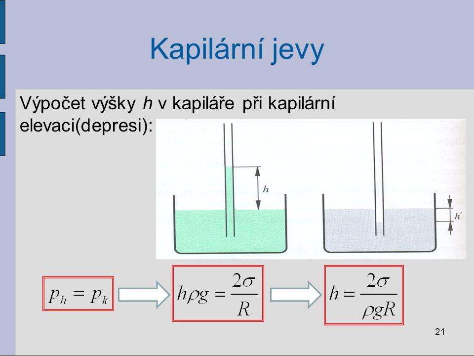 Kapilární jevy Výpočet výšky h v kapiláře při kapilární elevaci(depresi): 21
