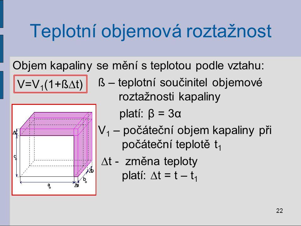Teplotní objemová roztažnost Objem kapaliny se mění s teplotou podle vztahu: ß – teplotní součinitel objemové roztažnosti kapaliny platí: β = 3α V 1 – počáteční objem kapaliny při počáteční teplotě t 1 ∆t - změna teploty platí: ∆t = t – t 1 22 V=V 1 (1+ß∆t)