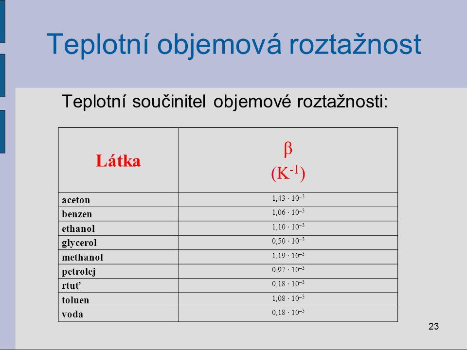 Teplotní objemová roztažnost Teplotní součinitel objemové roztažnosti: 23 Látka β (K -1 ) aceton 1,43 · 10 –3 benzen 1,06 · 10 –3 ethanol 1,10 · 10 –3 glycerol 0,50 · 10 –3 methanol 1,19 · 10 –3 petrolej 0,97 · 10 –3 rtuť 0,18 · 10 –3 toluen 1,08 · 10 –3 voda 0,18 · 10 –3