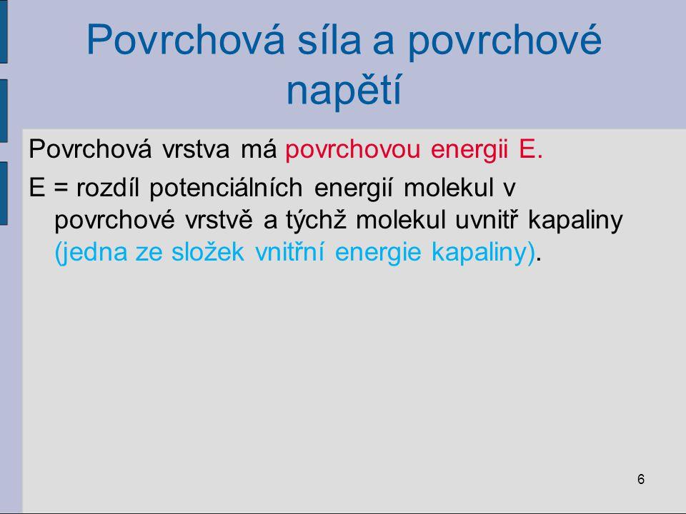 Povrchová síla a povrchové napětí Povrchová vrstva má povrchovou energii E. E = rozdíl potenciálních energií molekul v povrchové vrstvě a týchž moleku