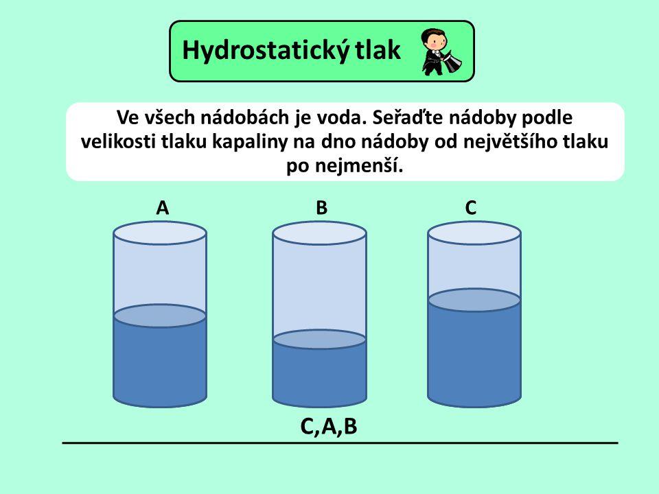 Ve všech nádobách je voda. Seřaďte nádoby podle velikosti tlaku kapaliny na dno nádoby od největšího tlaku po nejmenší. ABC C,A,B