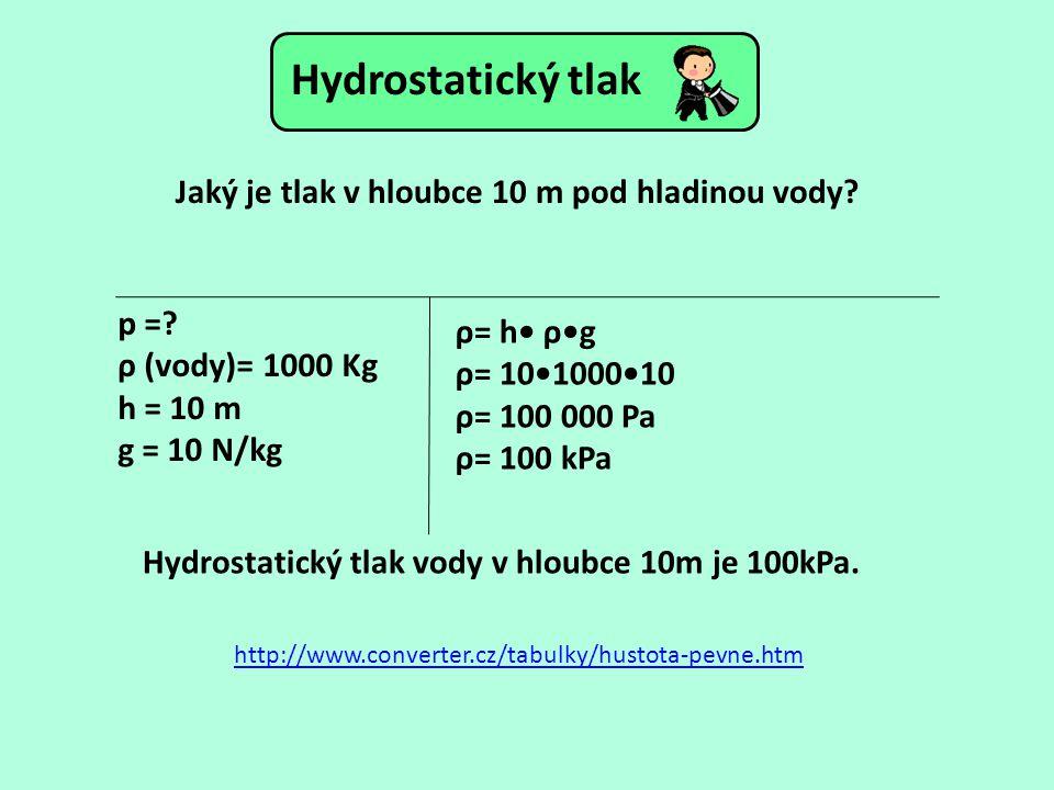 Jaký je tlak v hloubce 10 m pod hladinou vody? p =? ρ (vody)= 1000 Kg h = 10 m g = 10 N/kg http://www.converter.cz/tabulky/hustota-pevne.htm ρ= h ρg ρ
