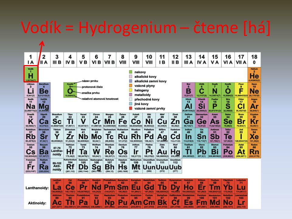 Vodík = Hydrogenium – čteme [há]