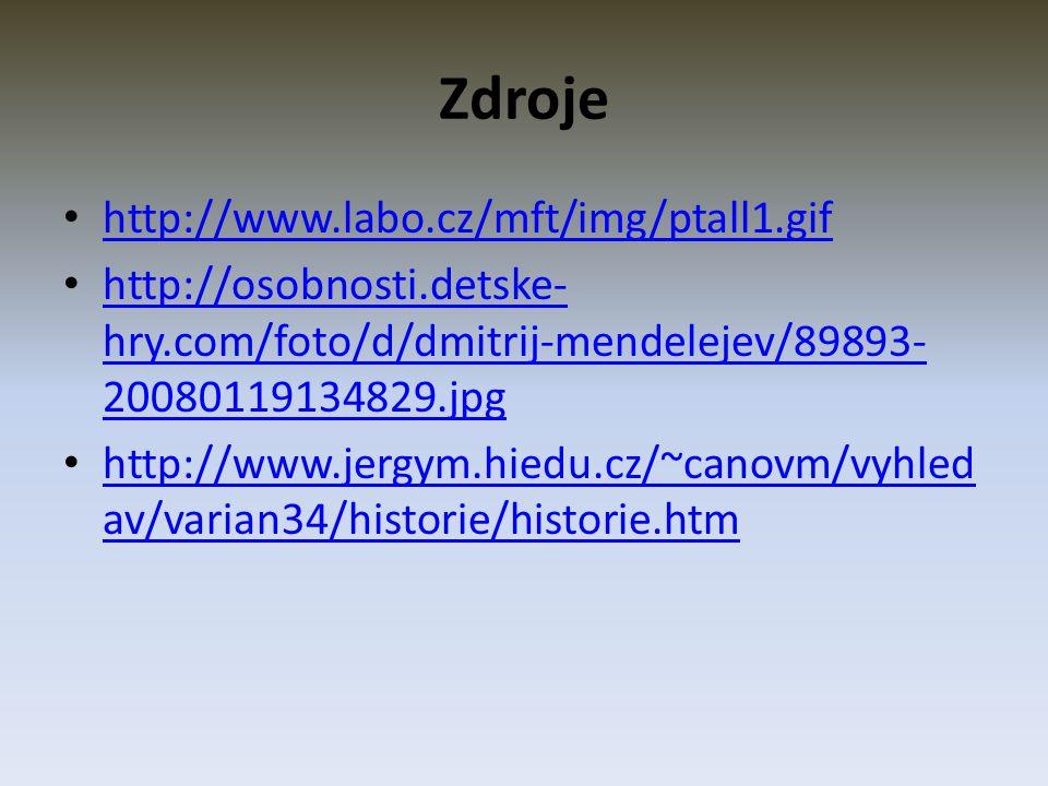 Zdroje http://www.labo.cz/mft/img/ptall1.gif http://osobnosti.detske- hry.com/foto/d/dmitrij-mendelejev/89893- 20080119134829.jpg http://osobnosti.detske- hry.com/foto/d/dmitrij-mendelejev/89893- 20080119134829.jpg http://www.jergym.hiedu.cz/~canovm/vyhled av/varian34/historie/historie.htm http://www.jergym.hiedu.cz/~canovm/vyhled av/varian34/historie/historie.htm