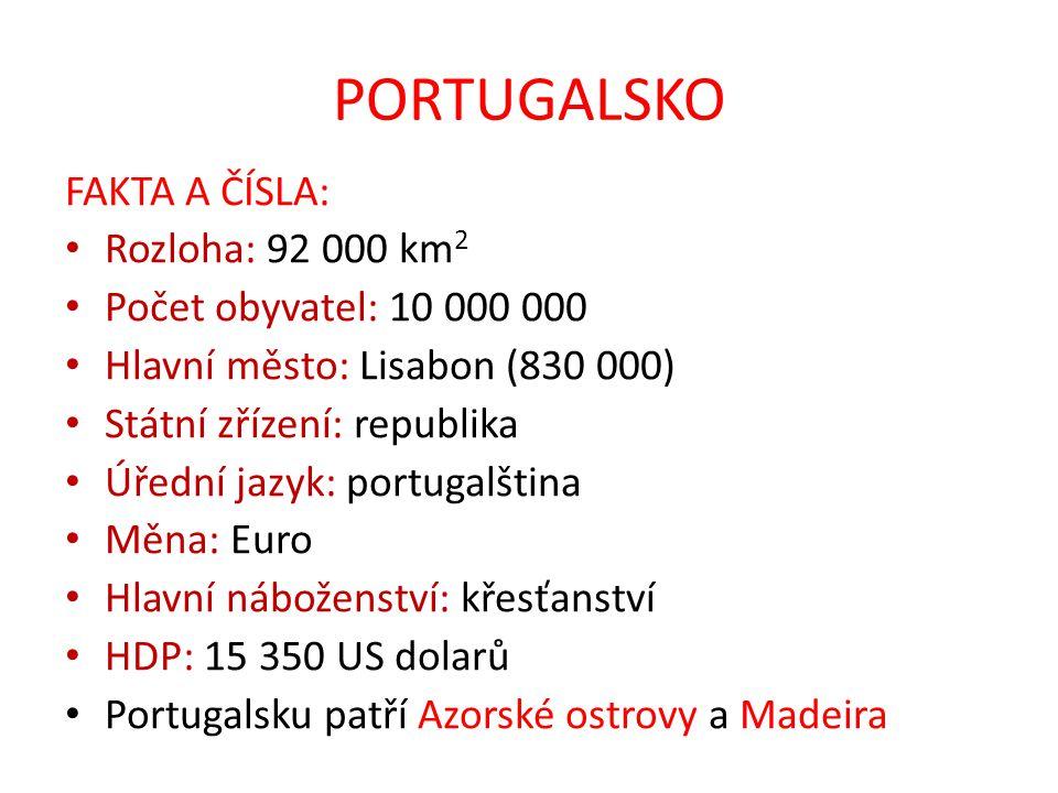 PORTUGALSKO FAKTA A ČÍSLA: Rozloha: 92 000 km 2 Počet obyvatel: 10 000 000 Hlavní město: Lisabon (830 000) Státní zřízení: republika Úřední jazyk: por
