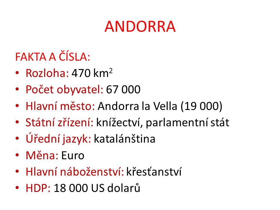 ANDORRA FAKTA A ČÍSLA: Rozloha: 470 km 2 Počet obyvatel: 67 000 Hlavní město: Andorra la Vella (19 000) Státní zřízení: knížectví, parlamentní stát Úř