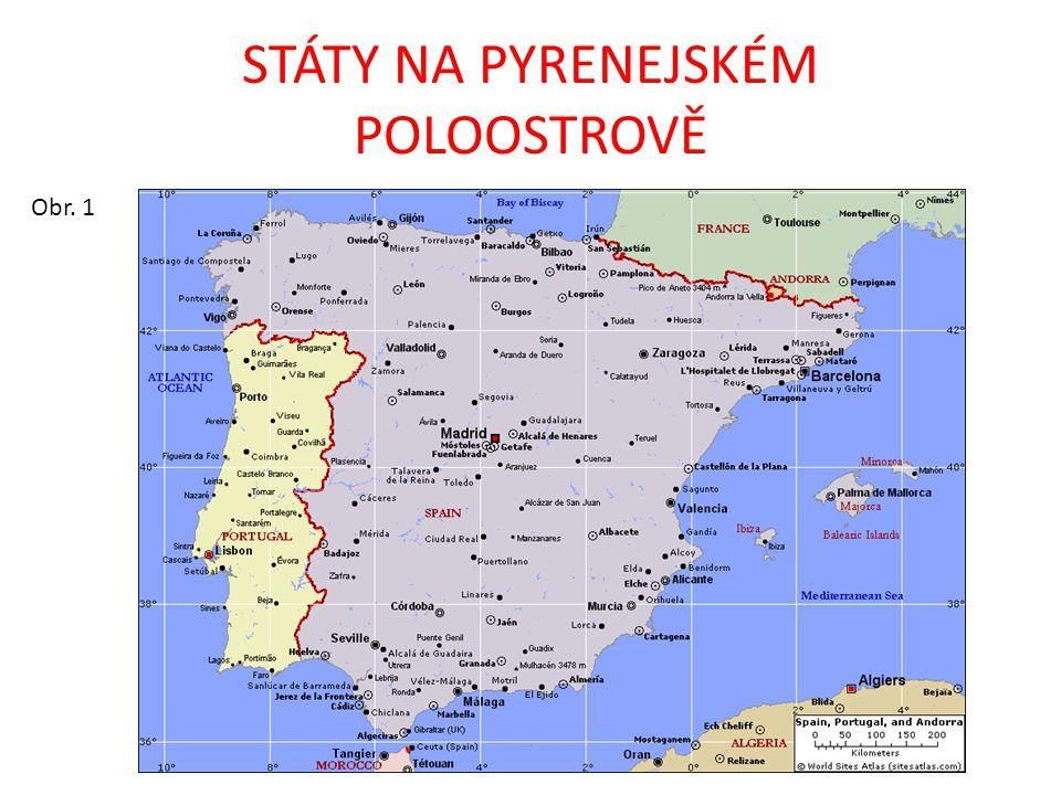KRAJINA STÁTY: Španělsko, Portugalsko, Andorra MOŘE: Středozemní, Atlantský oceán PRŮLIVY A ZÁLIVY: Gibraltarský průliv, Biskajský záliv OSTROVY: Baleáry (Mallorca, Ibiza, Menorca, Formentera) POHOŘÍ: Pyreneje, Kantaberské, Iberské, Kastilské, Sierra Morena, Andaluské NÍŽINY: Andaluská, plošina Meseta ŘEKY: Ebro, Duero, Tajo, Guadiana, Guadalquivir