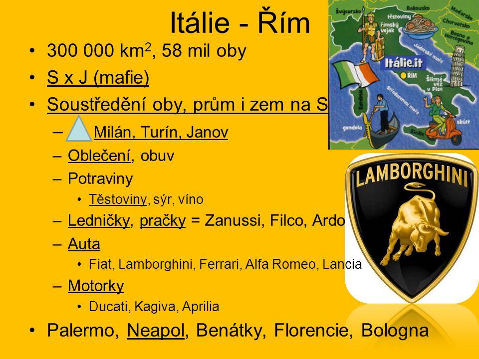 Itálie - Řím 300 000 km 2, 58 mil oby S x J (mafie) Soustředění oby, prům i zem na S – Milán, Turín, Janov –Oblečení, obuv –Potraviny Těstoviny, sýr,