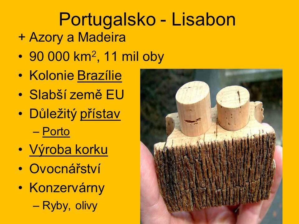 Portugalsko - Lisabon +Azory a Madeira 90 000 km 2, 11 mil oby Kolonie Brazílie Slabší země EU Důležitý přístav –Porto Výroba korku Ovocnářství Konzer