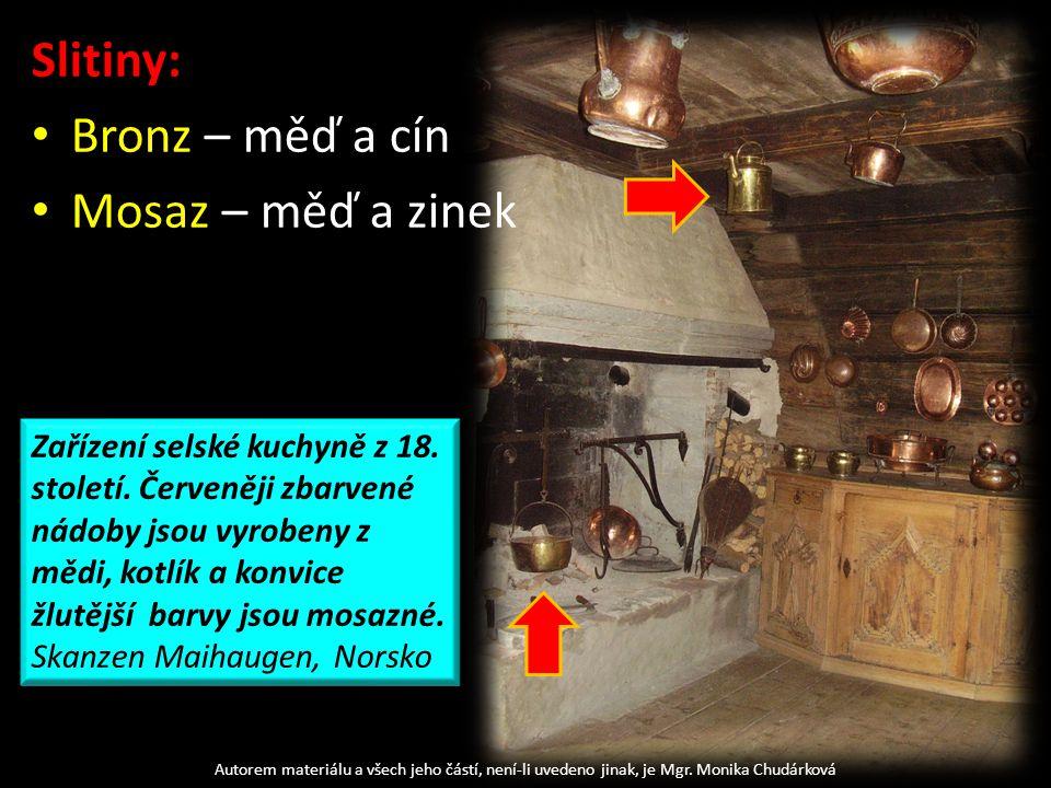 Slitiny: Bronz – měď a cín Mosaz – měď a zinek Autorem materiálu a všech jeho částí, není-li uvedeno jinak, je Mgr.